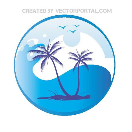 SUN PALM TREES VECTOR.eps