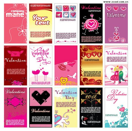 Valentine's Day Theme Card design elements
