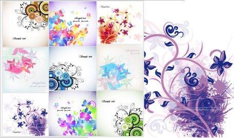 Vector Floral Flower card trend