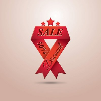 Triangle Folds Red Sales Ribbon