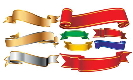 Banner Vector material several ribbons ribbons