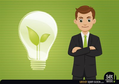 Businessman with Fresh Idea Light Bulb