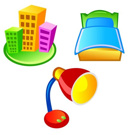 LAMPS, BEDS AND BUILDINGS VECTOR ICON.ai