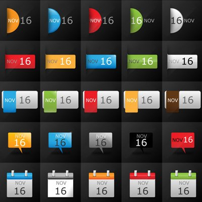 Vector datum Calendar Icon Set