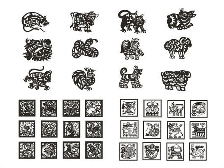 Zodiac of paper-cut vector material (4)