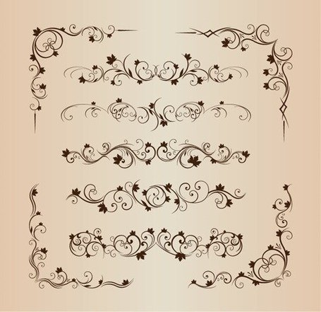 Ornement décoratif floral Vector Set