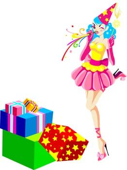 Party Clown woman with boxes of present