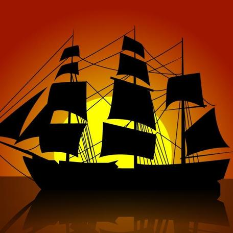 SAILING SHIP VECTOR SILHOUETTE.eps