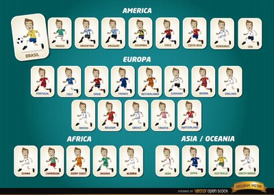 Cartoon football players teams Brazil 2014