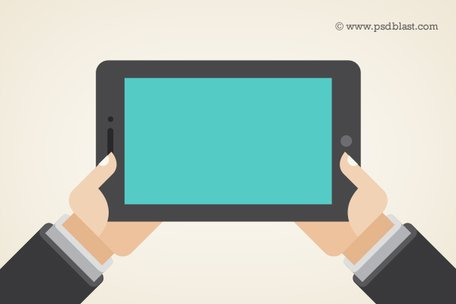 Vector Shape main tenant une tablette tactile PC, tablette (PSD)