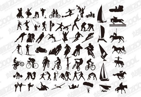 A variety of sports action silhouette