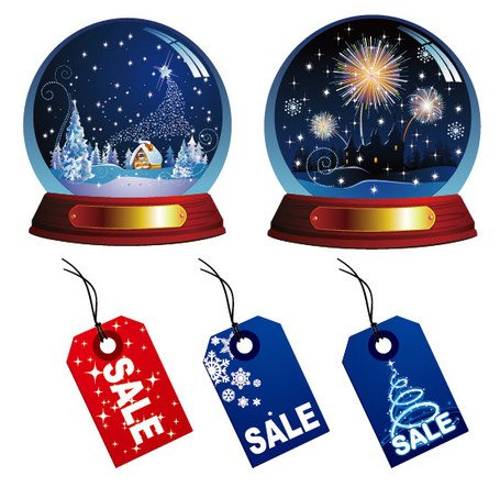 Christmas crystal ball and sale of label