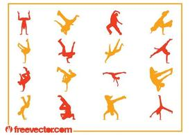 Breakdancer silhouetten Set