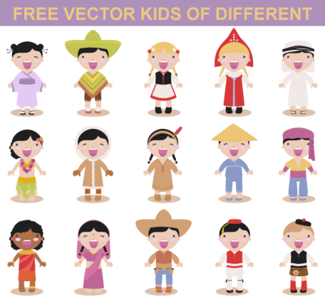 Free Vector Kids Different Races