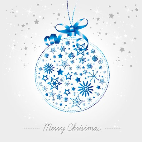 Christmas Ball Vector Ornament Made of Snowflakes Greeting Card Template