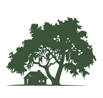 House & Oak Tree Silhouette Landscape