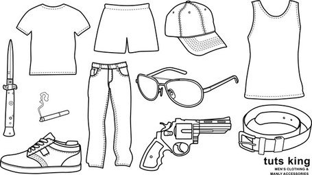Men Wear Clothing Line Drawing Vector Goods