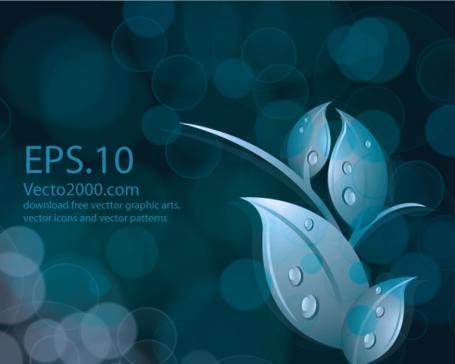 Leaves on Abstract Bokeh Dark Blue Background Vector Free