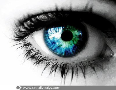 Realistic Eye with Blue Eyeball