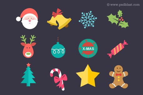 Flache Christmas Icon Set (PSD)
