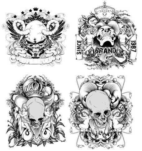Handgetekende lijn ontwerp Devil And The Angel - Vector materiaal illustratie Skull Crown
