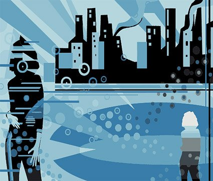 City silhouette vector material and characters