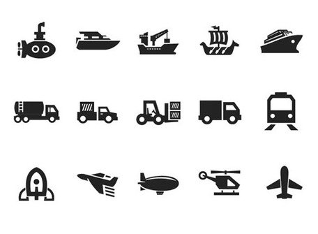 Transport Icon Set Vector sur Gray