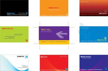 2 Sets Of Threedimensional Arrow Theme Business Card Template