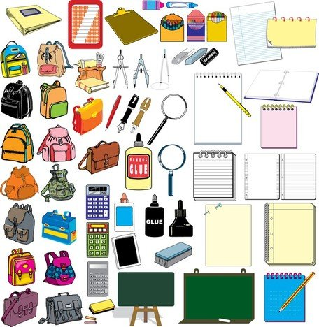 Vector Elements Of School Supplies Set