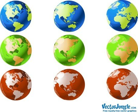 Vector globos do mundo