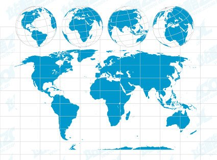 World map with the Earth