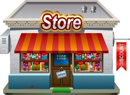 Free small shops model 01 clipart and vector graphics for Store building design