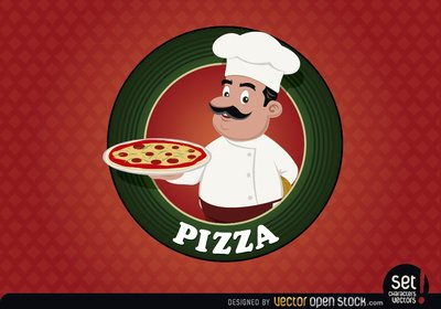 Sceau de logo de Pizza chef