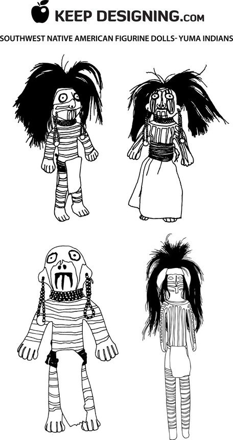 Southwest Native American beeldje Dolls - ontwerp vectoren