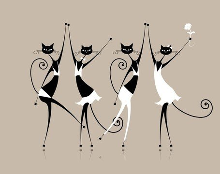 Elegant Cat Line Art