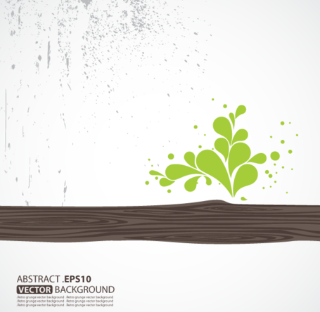 Free Vector Wooden with Green Leaf