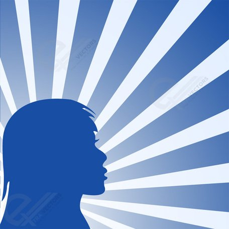 Beauty girl silhouette background with rays