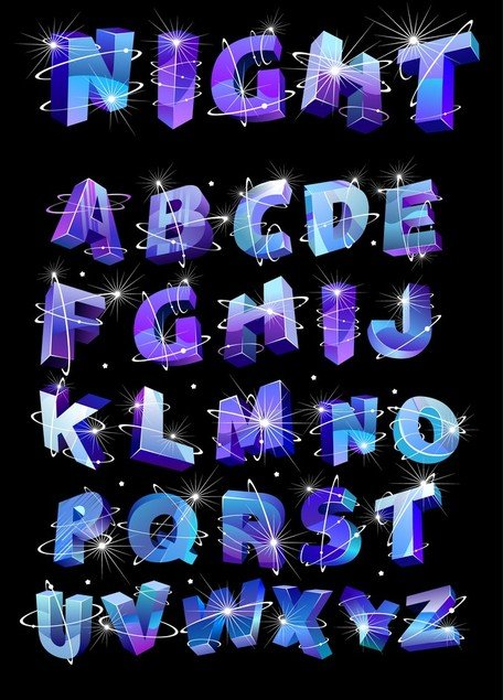 Threedimensional Vector Alphabet Flash