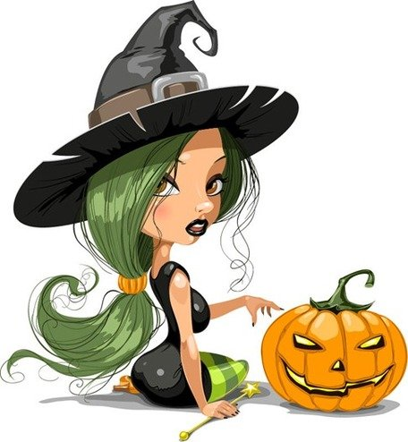Pretty Witch with Halloween