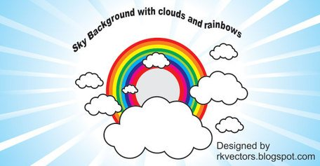 Sky with clouds and rainbow background