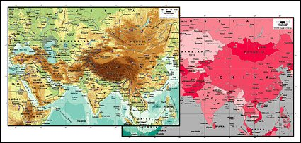 Vector map of the world exquisite material - Asia Center Map