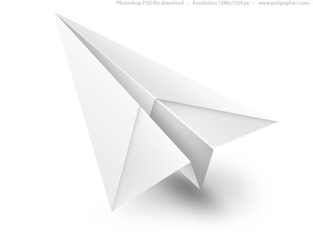 White Paper Airplane PSD-Symbol