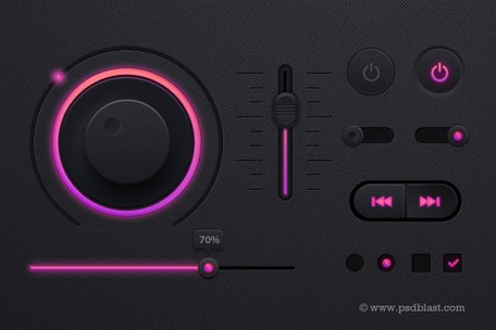Kit UI reproductor de música PSD, diseño de interfaces de tema oscuro