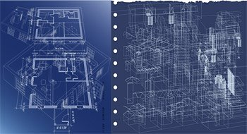 Perspective three-dimensional interior floor plan lines of v