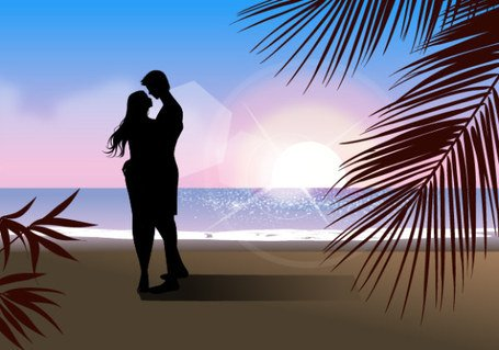 Fashionable men and women beach silhouette