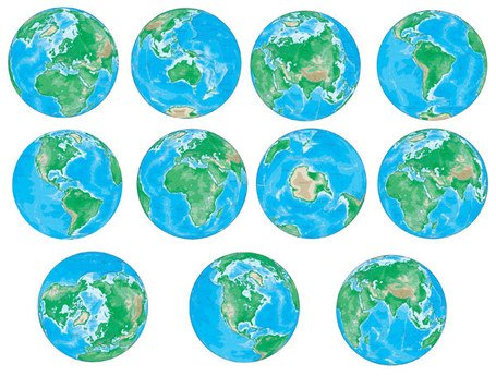 Vector various angles of the Earth