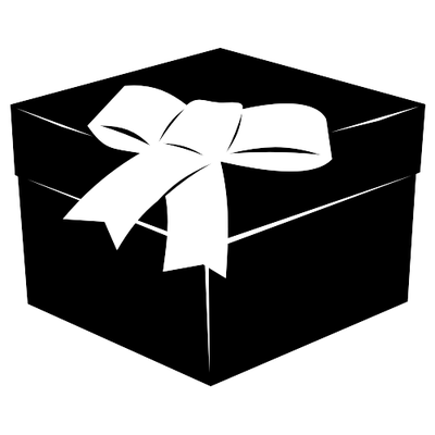 3D Black & White Flat Gift Box with Ribbon