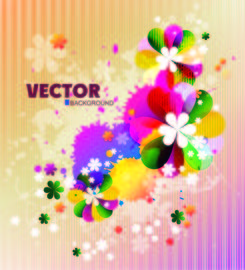 Colorful Spring Floral Background with Splats
