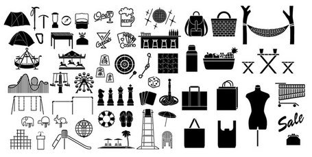 Elements of a variety of silhouettes vector material - Enter