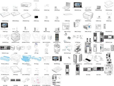 A variety of computer products line drawing
